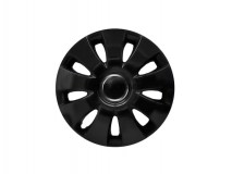"Kit 4 Wheel Covers Aura Black 15"""