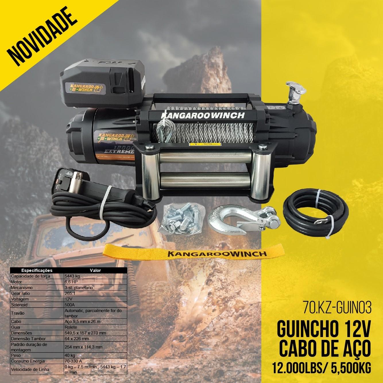 Guincho 12V Cabo De Aço 12.000Lbs/ 5,500Kg