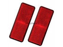 2x Red Rectangular Reflectors 90x35mm (Adhesive Fitting)