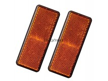 2x Orange Rectangular Reflectors 90x35mm (Adhesive Fitting)