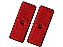 2x Red Rectangular Reflectors 90x35mm (Screw Fitting)
